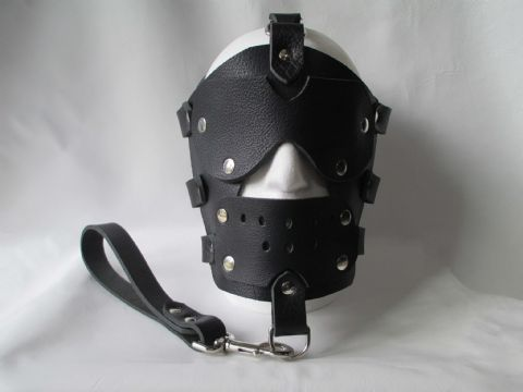 Leather Locking Bondage Face Mask, Eye Blinds, Gag and Leash